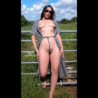 Opened Her Dress Outdoors - Beauty, Black Hair, Full Frontal Nudity, Standing