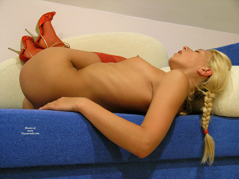 Naked Woman In Red Pumps - Blonde Hair, Heels, Red Hair , Blonde Pigtails, Red High Heels, Firm, Flexible Pose, Mini Tits, Pig Tales, Blonde Hair Red Stockings, Blonde Perky Tit, Red Stockings