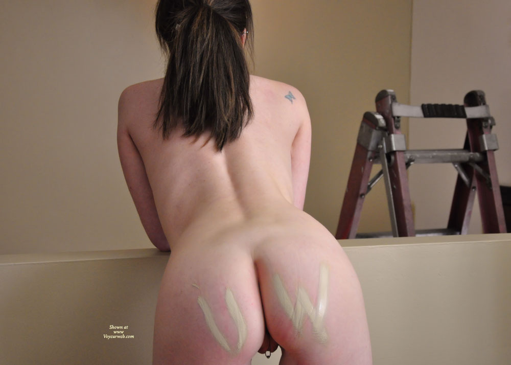 Pic #1 - Pierced Pussy - Brunette Hair , Tattoo On Pussy, Butterfly Tattoo, Ass Shot, Long Brunette Ponytail, Tatooed Shoulder, Paint On Her Ass, Piercing From Behind, Rear View Pussy Ring, Vagina Piercing, Unshaved Pussy, Marked Cheeks