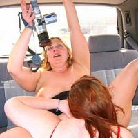 Girls Fun - Lesbian, Nude In Car