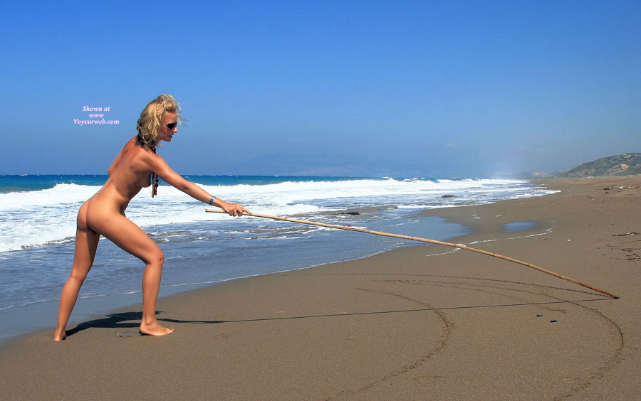 Pic #1 - Beautiful Slim Blond Girlfriend Nude At The Beach - Blonde Hair, Small Breasts, Naked Girl, Nude Amateur, Sexy Girlfriend , Drawing On The Sand, Stretching On Beach, Blond With Nice Tan, Drawing Arches At The Sea Shore, Slim Blond Beach, Full-body Tan, Athletic, Naked On Beach, Nude On Beach