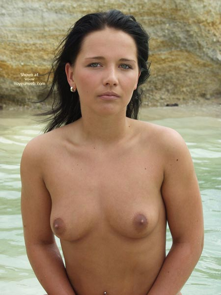 Pic #1 - On The Beach - Nipples, Nude Beach, Topless, Looking At The Camera , On The Beach, Topless, Looking At Camera, Topless Near Water, Small Mouth Watering Nipples