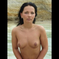 On The Beach - Nipples, Nude Beach, Topless, Looking At The Camera