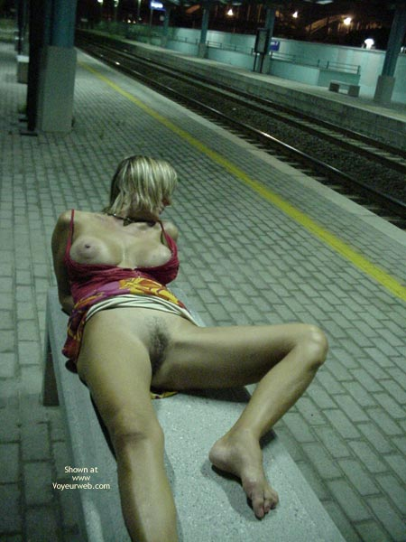 Pic #1 - Boobs Out - Large Nipples, Spread , Boobs Out, Laying On Bench, Train Station, Subway Spread, Spread Legs In Public, Large Nipples