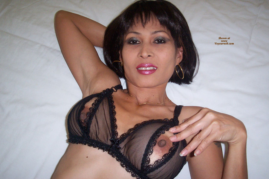 Pic #1 - Nipple Peek - Black Hair, Brown Hair, Erect Nipples, Hard Nipple , Hard Asian Nipples, Looking Into Camera, On Back White Sheets, Big Nipples, Black Erected Nipples, Peep Hole Bra, Asian, Large Brown Nips