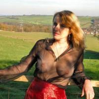Mature Woman With See Through Blouse - Big Tits, Blonde Hair, Long Hair