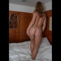 Standing On Bed Nude From Behind With Mirror Showing Front - Brown Hair, Long Hair, Round Ass, Naked Girl, Nude Amateur, Pussy From Behind