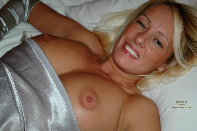 Pic #1 - Silver Dress - Large Breasts, Nipple Slip , Silver Dress, Nipple Slip, Large Breasts, Lying In Bed, Topless In Bed, Falling Out Of Dress, Sexy Face, Big Tits In Bed