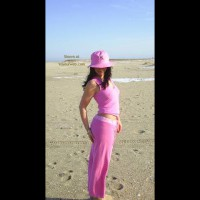 Carrie In Pink At The Beach