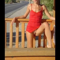 Nopanty Upskirt - Leg Up, Red Dress, Small Breasts