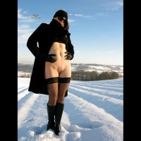 Bottomless Outdoor Snow Shot - Bottomless, Brunette Hair, Shaved Pussy, Stockings, Hairless Pussy, Hot Wife