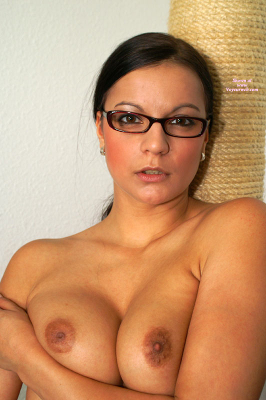 Pic #1 - Topless Beauty In Glasses - Topless , Topless With Glasses, Closeup, Looking Into Camera, Topless Protrait, Beautifull Eyes, Looking Teasing, Rings On Pierced Ears, Boobs Together, Teacher Look, Glasses, Boobs Pushed Together, Brown Eyes