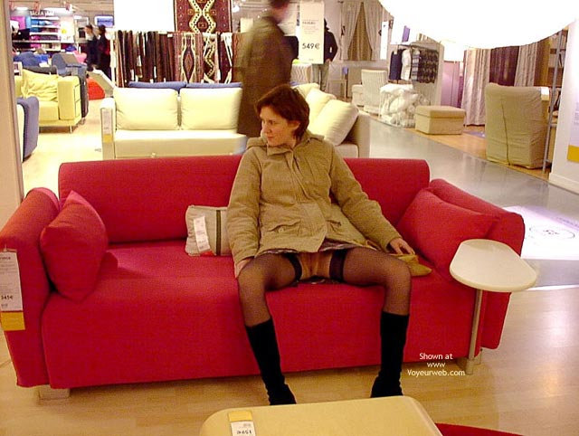 Pic #1 - Nylons - Boots, No Panties , Nylons, No Panties, Spread Legs In Public, Up Skirt On Couch, Boots, Sitting