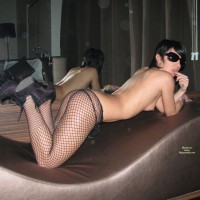 Doggie Style On Lounger - Heels, Perky Tits, Stockings, Sunglasses
