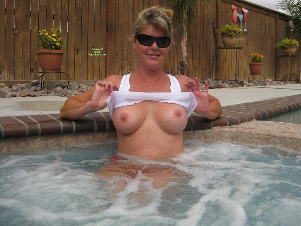 Pic #1 - Flashing In The Hottub - Big Tits, Erect Nipples, Flashing Tits, Flashing, Sunglasses, Hot Girl , Big Round Tits, Freckly Chest, Peekaboo, Alone In The Hot Tub, Hot Tub Floaties, Girl In Hottub, Hot Tub Breasts, Freckles In The Tub, Flash Tits, Hot Tub Flashing