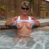 Flashing In The Hottub - Big Tits, Erect Nipples, Flashing Tits, Flashing, Sunglasses, Hot Girl