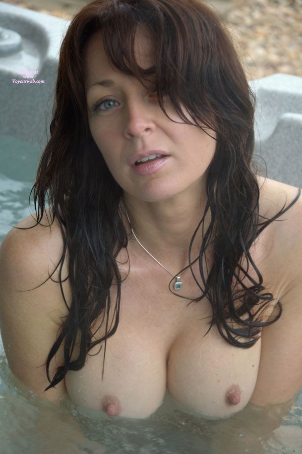 Tits Bobbing Out Of The Water - Big Tits, Blue Eyes, Brown Eyes, Brown Hair, Long Hair, Looking At The Camera , Long Brown Wet Hair, Eye Contact, Sultry Eyes And Mouth, Naked In Whirlpool, Open Mouth, Hot Tub, Round Tits, Big Titties