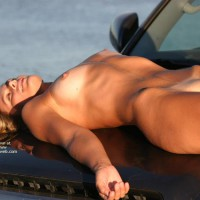 Hood Ornament - Laying Down, Nude Outdoors, Shaved Pussy, Tan Lines, Nude Amateur