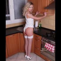 Girl, Kitchen And White Lingerie