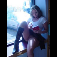 Black Boots - Blonde Hair, Boots, Shaved, Upskirt