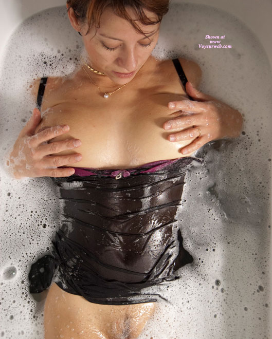 Pic #1 - Wet Black Babydoll - Big Tits , Playing With Breasts, Pantieless, Black Babydoll, Big Wet Tits, Flat Stomach, Wet Lingerie, Wedding Ring, Bubble Bath, Tits In Tub, Wet Babydoll