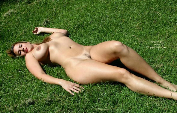 Pic #1 - Public Show - Huge Tits, Landing Strip, Nude Outdoors, Tan Lines , Public Show, Large Tits, Laying On Grass, Tan Lines, Landing Strip, Nude Outdoors