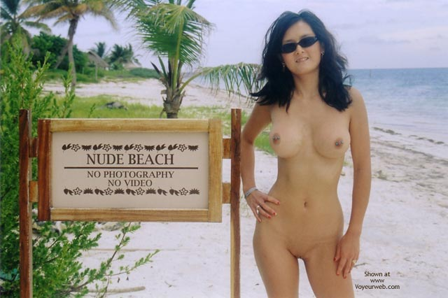 Pic #1 - Asian With Pierced Nipples - Nude Outdoors, Pierced Nipples, Shaved Pussy , Asian With Pierced Nipples, Big Boobed Asian Chick, Shaved Pussy, Nude Outdoors, Nude Beach Sign, Nude By Sign, Pierced Nipples, Sun Glasses
