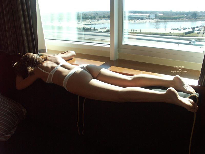 Pic #1 - White Bra And Panties - Sexy Lingerie , White Bra And Panties, Lay In Front Of Window, Window View, White Lingerie