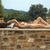 wife deck Neighbor nude on