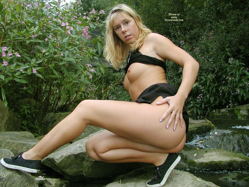 Pic #1 - Ex-girlfriend Photos - Erect Nipples, Small Tits , Finger Nails, Blond Wildlife, Black Sneakers, Black Top, Nature Girl, Athletic, Black Mini-skirt