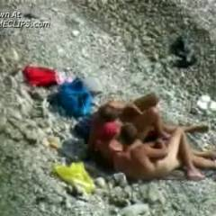Threesome Action On Nude Beach #3