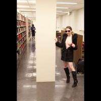 Library Tit Flash - Exhibitionist, Flashing, Naked Girl