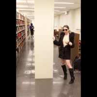 Library Tit Flash - Exhibitionist, Flashing, Naked Girl