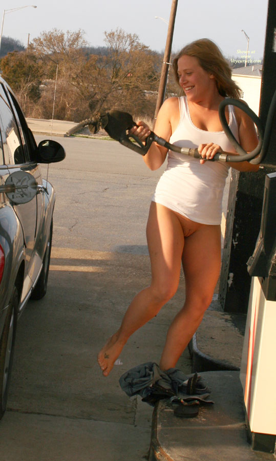 Pic #1 - Nude Amateur: Busted At The Gas Station!