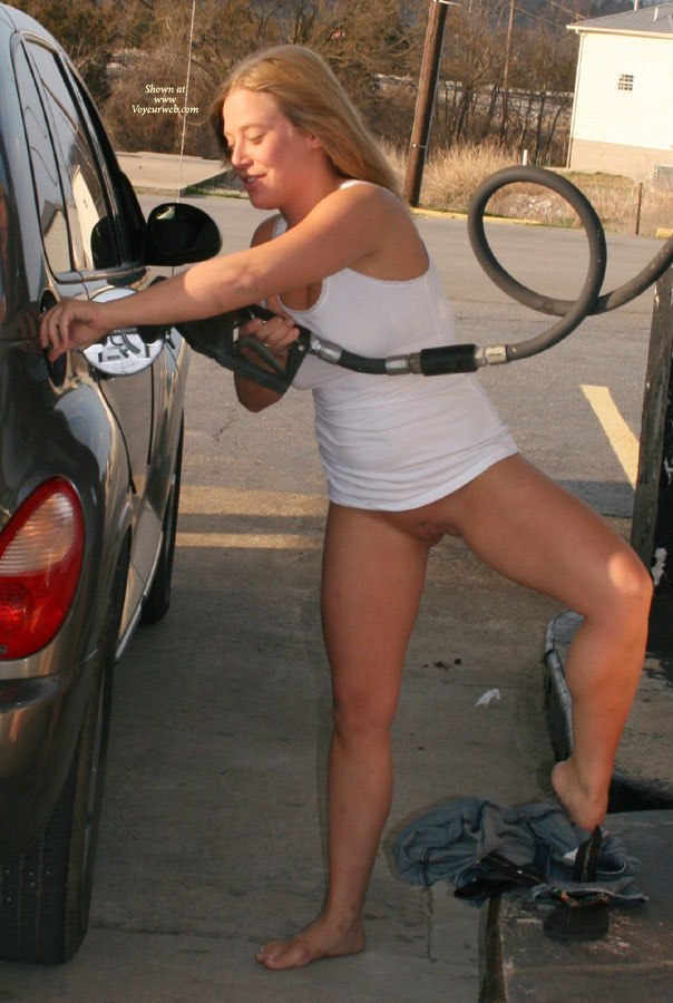 Pic #2 - Nude Amateur: Busted At The Gas Station!