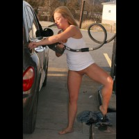 Nude Amateur: Busted At The Gas Station!