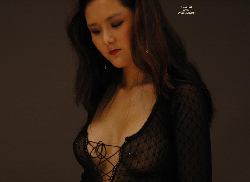 Pic #1 - Long Brown Hair - Long Hair, Pierced Nipples, Red Lips , Long Brown Hair, Shy Erotic, See Through Black Shirt, Pierced Nipples, Red Lipstick, Butterfly