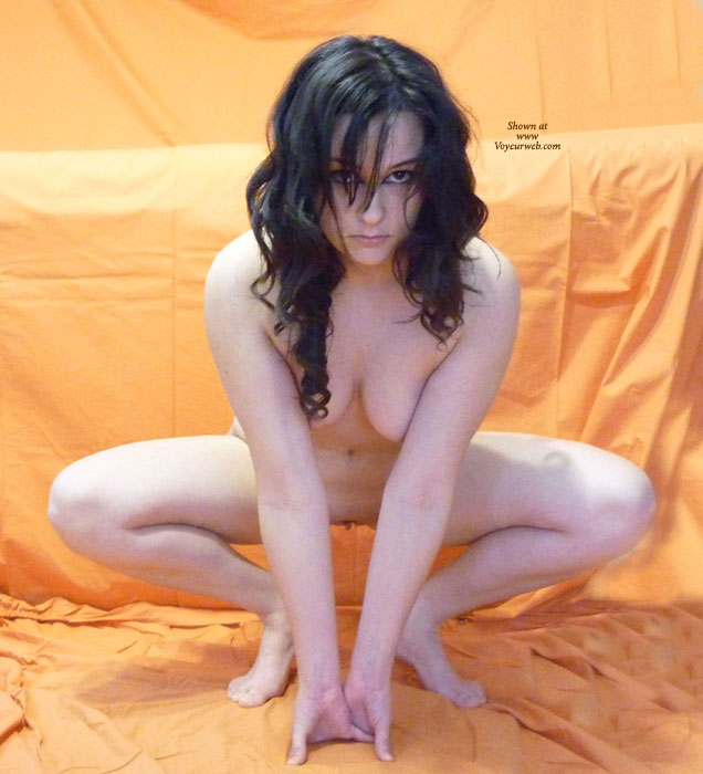 Cute Naked Girlfriend - Black Hair, Pale Skin, Spread Legs, Naked Girl, Nude Amateur , Pale Skin, Looking Into Camera, Dark Eyes, Froggy Pose, Teasing Looking, Spread Legs, Squatting, Curly Hair