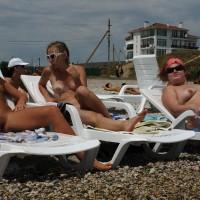 Nude Beach Lounge Spread - Huge Tits, Nude Beach, Spread Legs, Beach Pussy, Beach Voyeur, Naked Girl, Nude Amateur