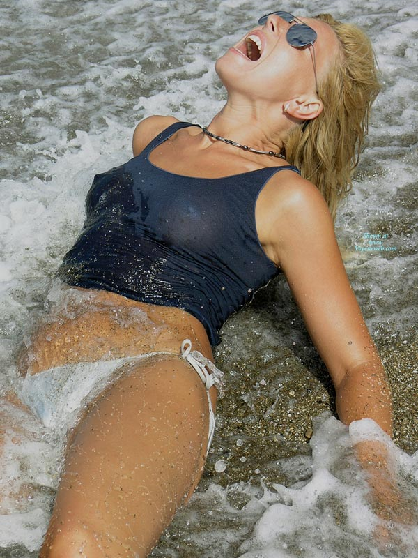 Blonde On Beach With High Beams On - Blonde Hair, Erect Nipples, Hard Nipple, Sunglasses, Naked Girl, Nude Amateur, Nude Wife , Shoreline Splash With Mouth Open, Ray Ban Sunglasses, Wet Blue Tank Top, Laying In Surf With Erect Nipples, White Bikini Bottom, Tied White Bikini Bottom, Tankini Girl In The Surf, Blue Wet Sheer Tank Top, Open Mouth, Water Between Legs, Surprised By Unexpectedly Cold Surf, Pilot Sunglasses, Cold Blonde Screaming In Ecstasy