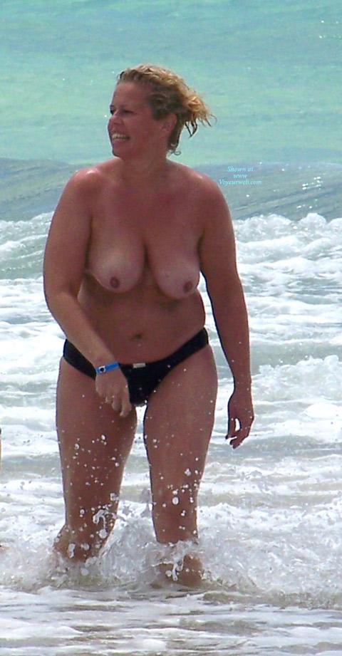Saw her splashing around in the surf.