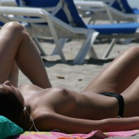 Beach Voyeur - Brunette Hair, Erect Nipples, Topless Beach, Beach Tits, Beach Voyeur