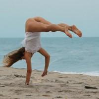 Half-nude Gymnast On Beach - Nude Amateur