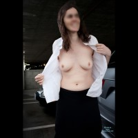 Topless Amateur: Parking Structure - First Time In Public