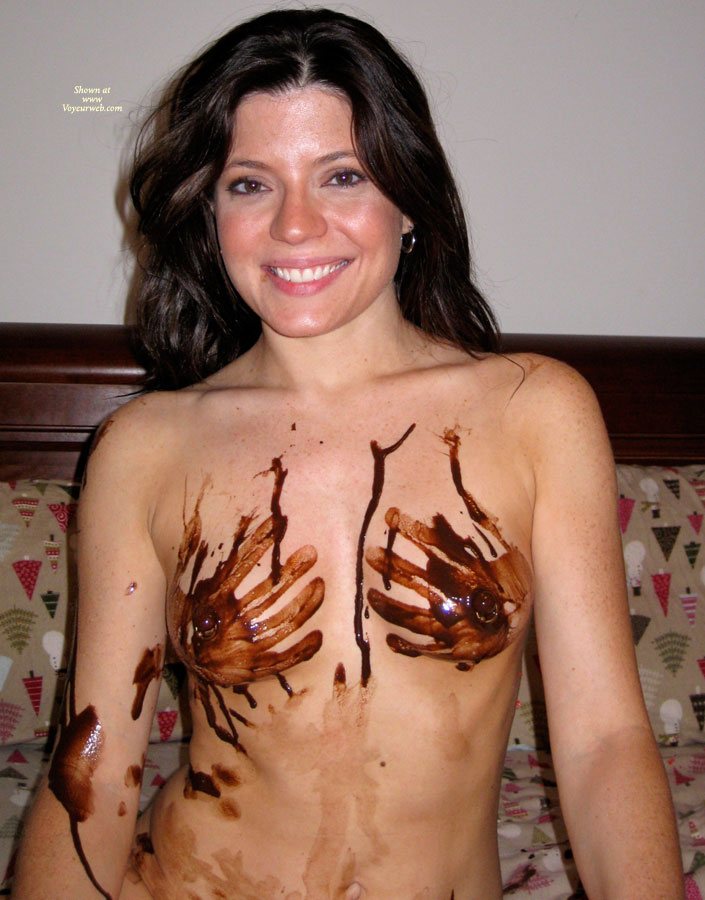 Chocolate Hands On Breasts - Black Hair, Dark Hair, Long Hair, Milf, Small Breasts, Looking At The Camera, Naked Girl, Nude Amateur , Big Smile, Playful Fun, Smiling At Camera, Chocolate Hand Print Bra, Athletic Body, Smiling Face, Nipple Rings, Food Finger Painting, Brown Eyes
