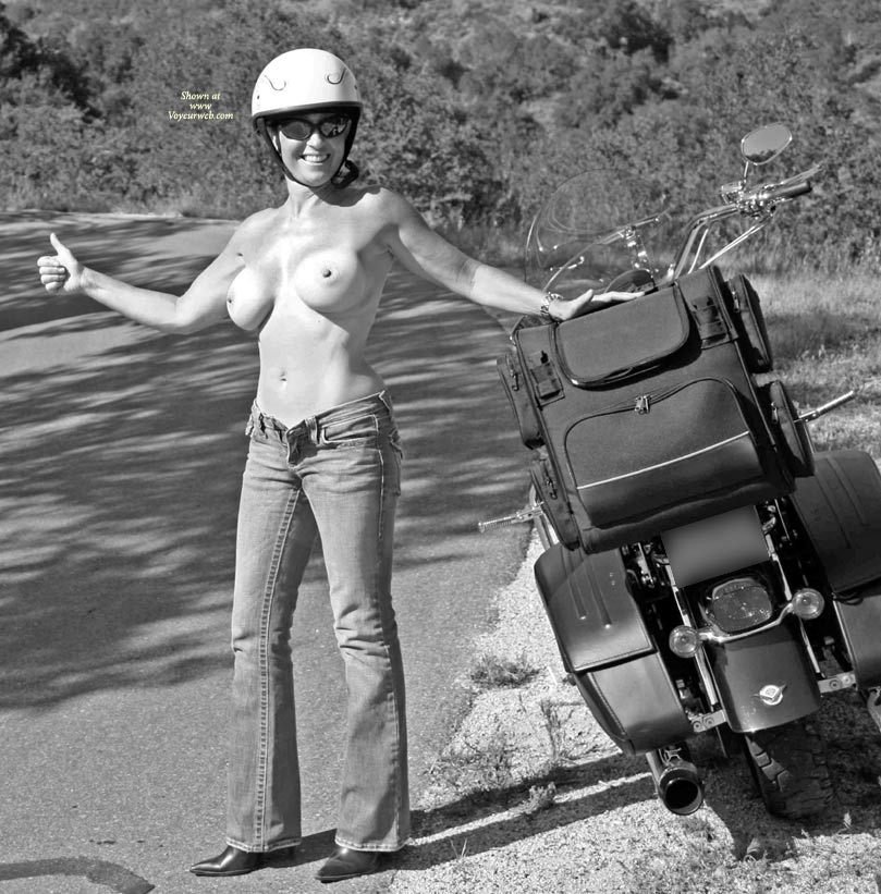Pic #1 - Topless Wife With Motorbike - Big Tits, Huge Tits, Milf, Topless, Topless Wife , Topless Motorcycle Lady, Black And White, Big Boobs, Biker Babe, Topless Girl