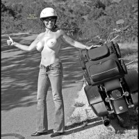 Topless Wife With Motorbike - Big Tits, Huge Tits, Milf, Topless, Topless Wife , Topless Motorcycle Lady, Black And White, Big Boobs, Biker Babe, Topless Girl