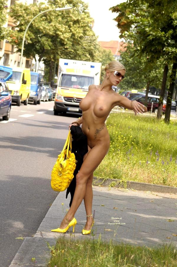 Exhibitionist - Blonde Hair, Exhibitionist, Flashing, Heels, Long Hair, Long Legs, Naked Girl, Nude Amateur, Sexy Figure, Sexy Legs , Slim And Fit, Matching Yellow Bag And Shoes, Nude On The Street, Sexy Blonde, Naked In Public, Sexy Shoes, Dress In Her Hand, Standing On High Heels, Traffic Stopper, Yellow Stilletos, Standing In High Heels, Nude Checking Watch, Undressed To Kill, Short Blonde Hair, Yellow, Ankle Braclet, Yellow High Heels