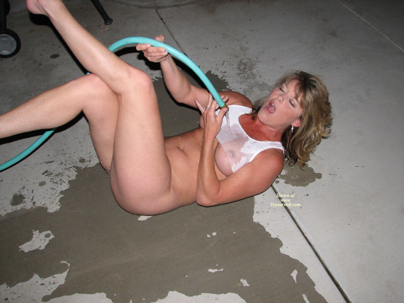 Pic #1 - She Is Wetting Her Shirt - Blonde Hair, Huge Tits, Naked Girl, Nude Amateur , Playing With A Hose, Wet T-shirt, Medium Blonde Hair, Naked Blonde On The Floor, Mouth Open, Girl Getting Hosed, Wet Tee Shirt, Nude Me, Wet T Shirt, Laying On The Groud And Get Wet, Bottomless