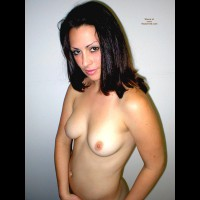 Topless - Black Hair, Brunette Hair, Navel Piercing, Standing, Tan Lines, Topless